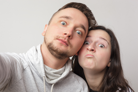 Young  loving couple makes selfie. Snapshot for memory