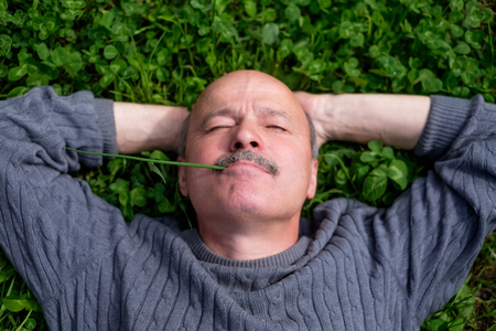 he: Mature Happy Man Lying On Green Grass. He holds onion leaf in mouth and closes eyes.