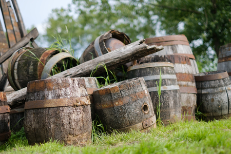 Old wooden casks