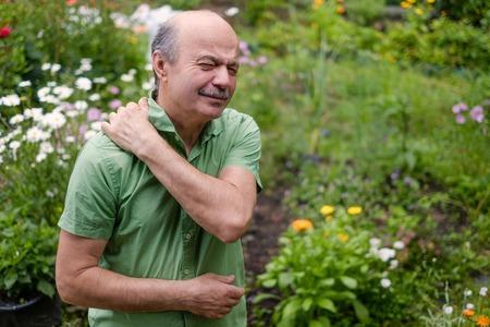 spinal disks: Old man having lumbago pain Stock Photo