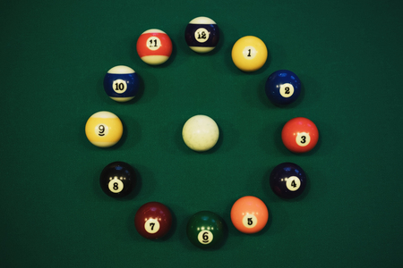 pool balls on green table in circle like a clock face