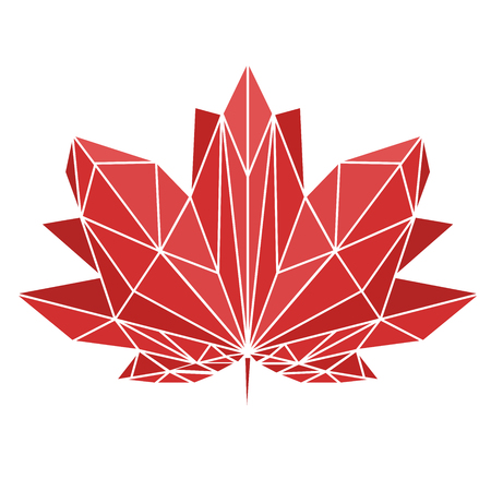 A maple leaf painted in polygonal technique. National sign of Canada.