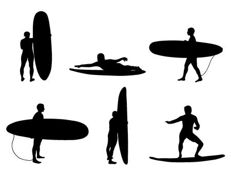 Set of silhouettes of surfers. Stand and look on wave, surfing on wave. Vector illustration. Stock Illustratie