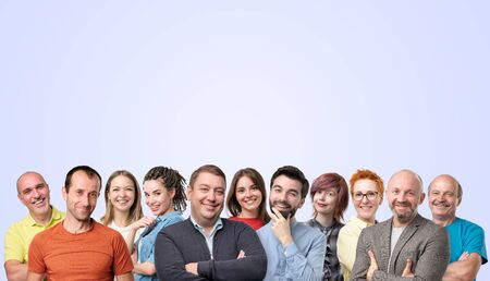 Horizontal collage of people faces smiling or laughing with copyspace. Be happy together. Body positive concept