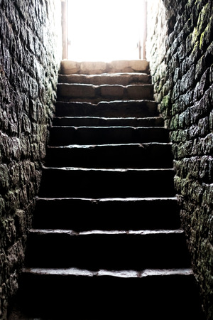 Stone staircase to the crypt. Life after death