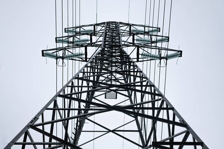 High voltage power line. View from the bottom up.