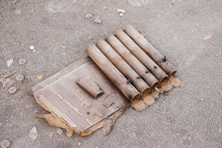 Remnants of fireworks spoil the streets after the traditional new year Stockfoto