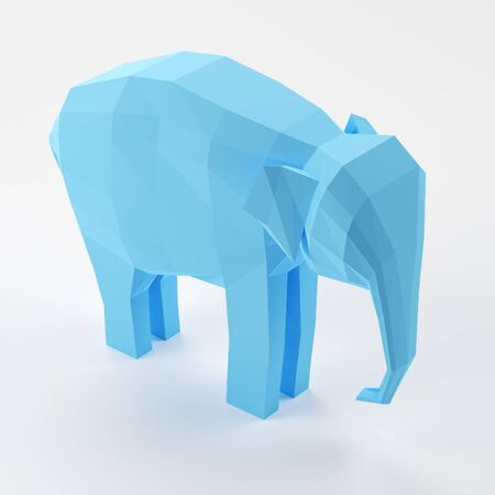 Blue 3D low polygon elephant on a white background