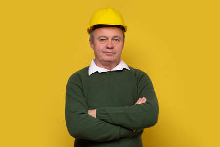 Portrait of happy young foreman with hard hat Standard-Bild