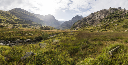 clearing the path: panorama of mountain scenery with meadow, located in a river valley in Abkhazia, Caucasus Mountains