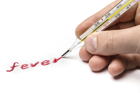 symptom: Doctor hand writing on paper symptom fever, using instead of a pen medical thermometer Stock Photo