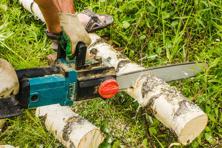 sawing: man sawing wood for firewood, using electric chainsaws