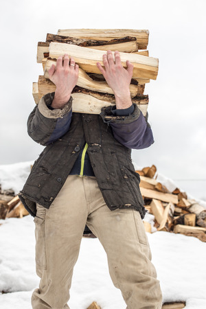 a man carries in his hand a great bunch of chopped firewood in the winter in the village against the backdrop of snow-covered heaps of other wood