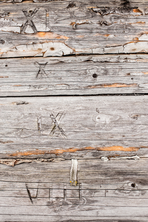 numeros romanos: old pine logs of wooden house with carved roman numerals