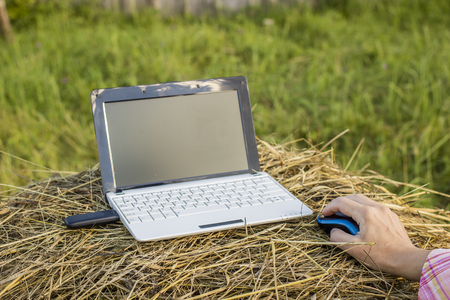 laptop with modem lies on a haystack in a meadow next to a woman hold her hand on the computer mouse
