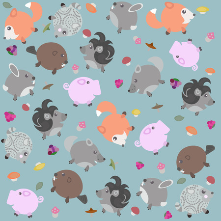 Funny pattern with animals, berries and mushrooms Illustration