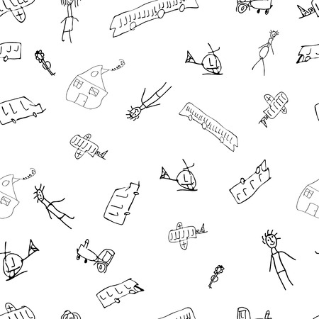 daub: Hand-drawn baby houses, people, cars in a seamless pattern Illustration