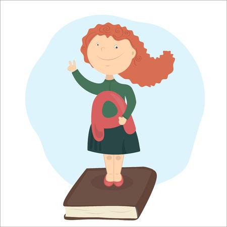 La jeune fille aux cheveux rouges, debout sur le livre, tenant louanges méritées scolaire.