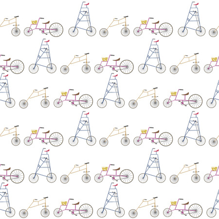 strange: crazy and strange bicycles in a line pattern