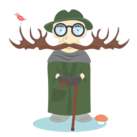 forester: An old man with a long mustache forester with a stick in his hand and a green coat and hat.