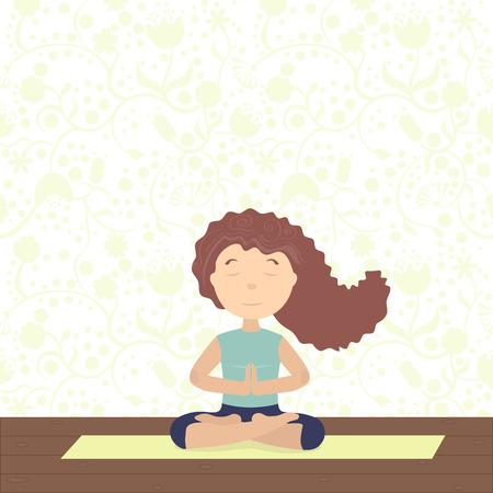 geschlossene augen: Sie meditiert auf Yoga. Sitzen im Lotus, Handfl�chen zusammen, die Augen geschlossen, Haare fliegen Illustration