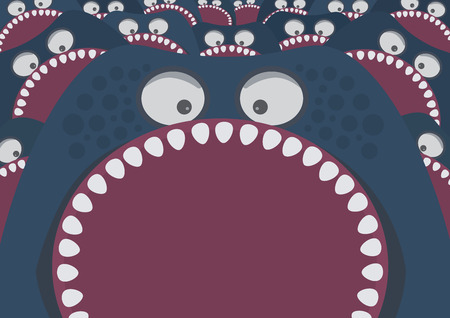pharynx: Blue monster with sharp teeth attack Illustration