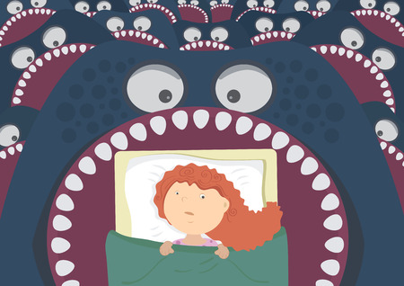 Children's night terrors. Monsters around the bed of the girl