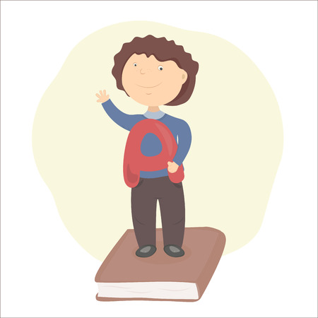 best book: Boy holding best mark A in his hand standing on book. Pass exam. Graduate from school. Illustration