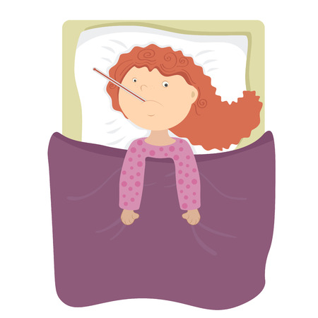 lying in bed: Sick child redhead girl lying on the bed and measuring the temperature