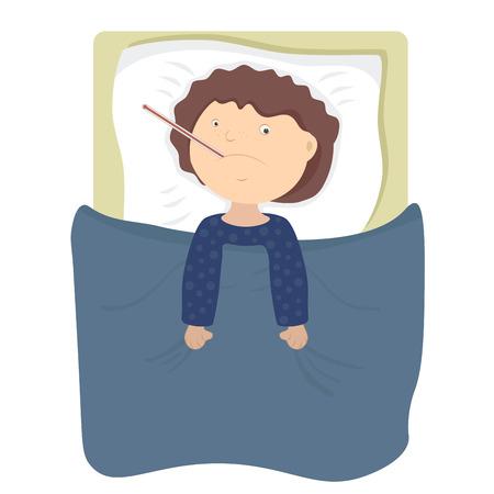 chory: Chory chłopiec dziecko z brązowe włosy leżącego na łóżku i pomiaru temperatury