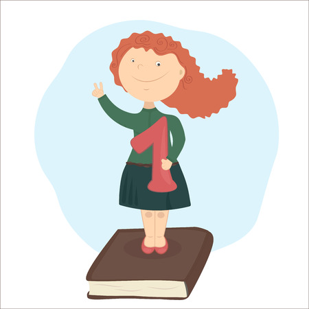 The girl with red hair standing on book, holding school-deserved praise.