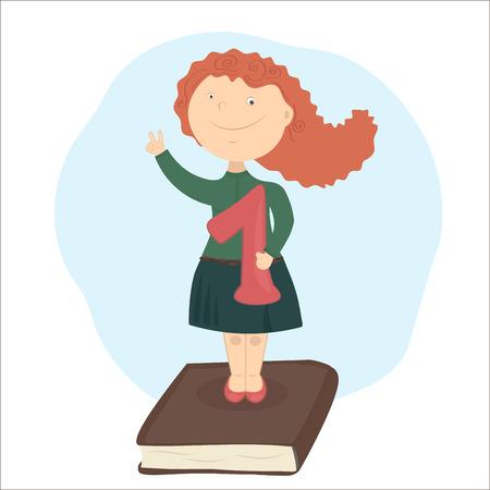 La jeune fille aux cheveux rouges, debout sur le livre, la tenue de louange méritée école.