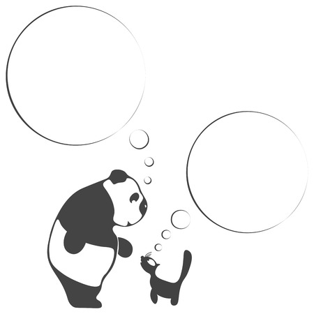 Panda and cat wild and domestic animals. They see each other first time and want to make friends. Black and white silhouettes.Thoughts. Background
