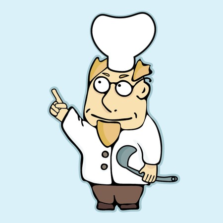 ladle: Chef with ladle in his hand pointing at important part of recipe Illustration