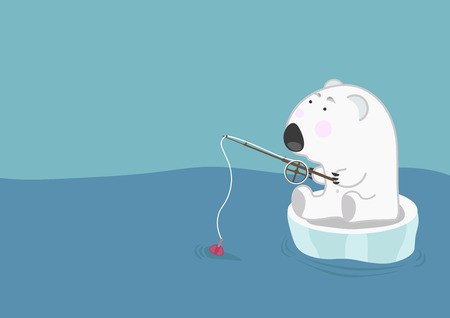 ice fishing: Lonely polar bear on an ice floe floats and fishing. Environmental problems of melting ice
