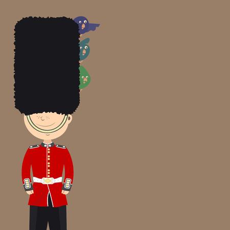 englishman: English guard an Englishman is on duty. Funny birds sitting in his cap. Background