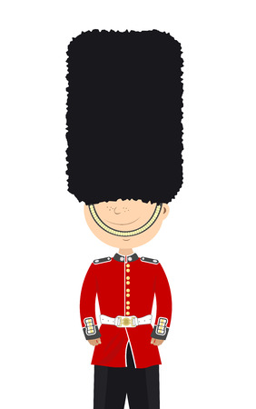 Beefeater English soldier stands alone on a white background