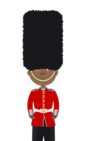 beefeater: English soldier black man Beefeater stands alone on a white background