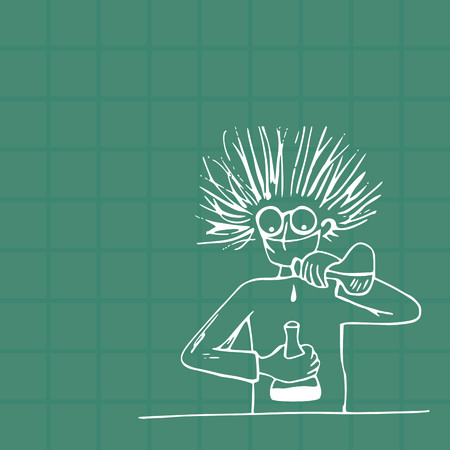 Crazy scientist physicist or chemist makes a dangerous experiment with an unknown substance Illustration