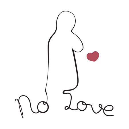 throwing: silhouette of a man throwing out his heart: unhappy love, separation, depression Illustration