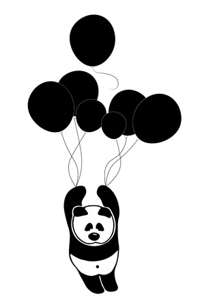 solitude: Sad panda rises in the air sky by balloons in search of solitude and peace