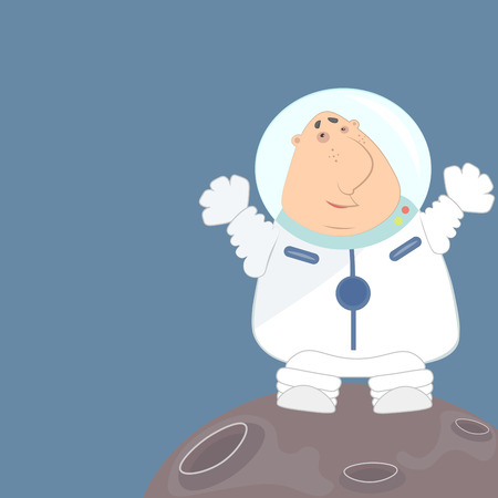 space suit: Funny astronaut in a white space suit waving his arms Illustration