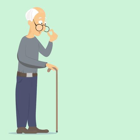 hombre viejo: anciano corrige las gafas y se apoya en su bastón, pensando en los problemas cotidianos Vectores