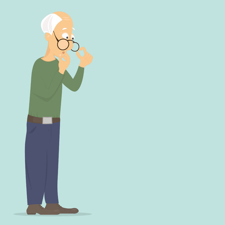 Pensioner old man thinks about a serious problem: lack of money, attention, communication, health