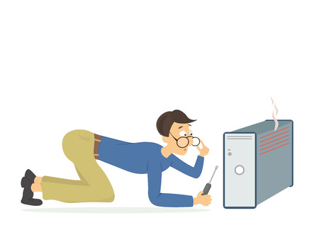 Técnico en computación joven tratando de arreglar un ordenador roto Ilustración de vector