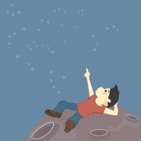 dreamer: A boy sits on the surface of the moon and explores the constellations in the sky alien or just a dream
