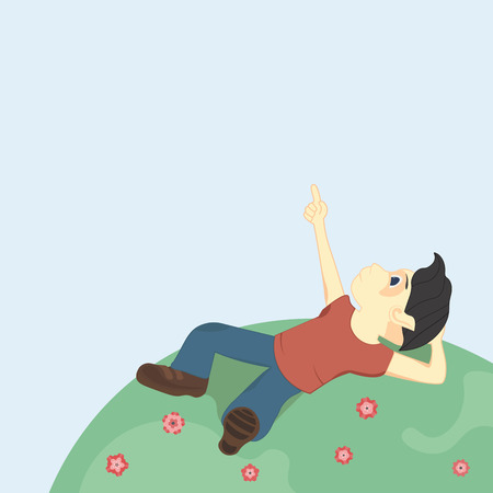 interesting: Boy with black hair lying on the ground and looking up at the sky, pointing at something interesting.