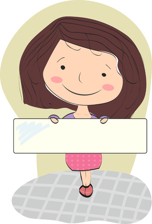 cheeks: Smiling girl with brown hair holding a blank for your text. Young girl with rosy cheeks in a classic skirt