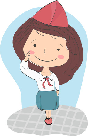 pioneer: Girl in the form of pioneer greets. Wearing red hat, tie and blue skirt - dress uniform of pioneers of Soviet period. Illustration