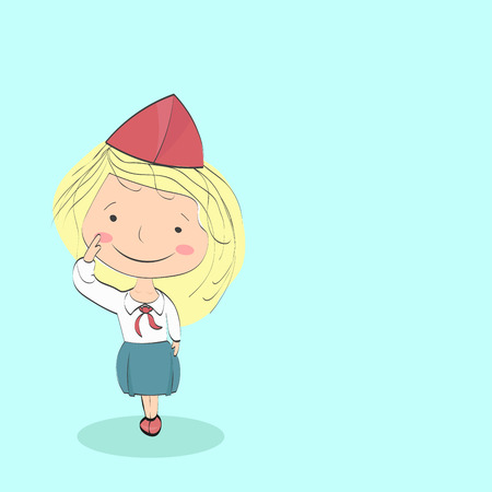 pioneer: Girl in the form of pioneer greets. Wearing red hat, tie and blue skirt - dress uniform of pioneers of Soviet period. Background. Illustration